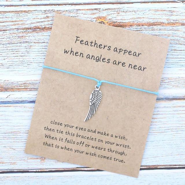 Faire un Voeu BRACELET//BRACELET à breloques-Plumes apparaissent lorsque les anges sont près de