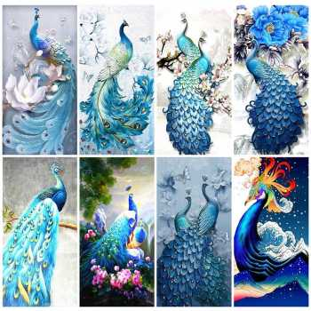 2020 new design blue Peacock Diamond Painting Cross Stitch Animal Full Drill Mosaic Home Decoration Embroidery Handmade Gift - discount item  34% OFF Arts,Crafts & Sewing