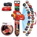 Часы с проекцией из мультфильма «Тачки Диснея», электронные экшн-фигурки Молнии Маккуин, креативный подарок для детей, 20 картин