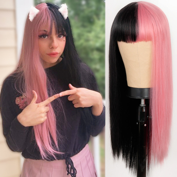 Lolita Cosplay wig half Pink Black Wig Long Straight Halloween Wigs Two Tone Ombre Color For Women Girl