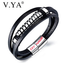 Модный браслет vya из нержавеющей стали титановые стальные кожаные