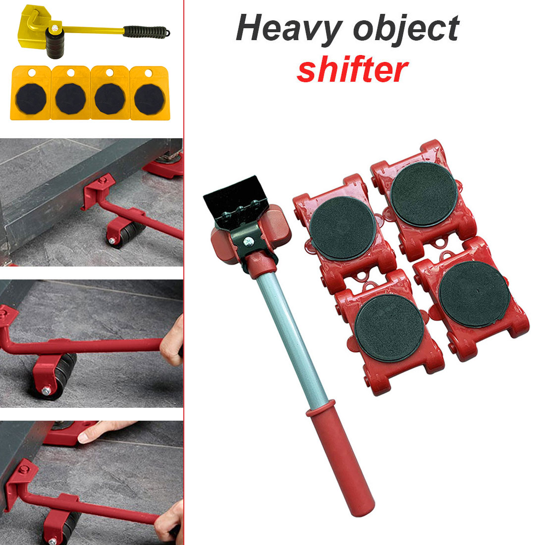 5Pcs Furniture Lifter Sliders Kit Profession Heavy Furniture Roller Move Tool Set Wheel Bar Mover Device Max Up For 150kg