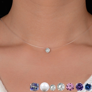 Ожерелье-невидимое женское, прозрачная леска до ключиц, короткая цепочка Стразы, чокер для девушек, модные ювелирные украшения