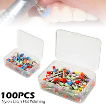 100pcs/Set Dental Polishing Brush Nylon-bowl-brush/Nylon-flat-brush Colorful Latch Polisher Dentist Brushes Teeth Whitening Tool