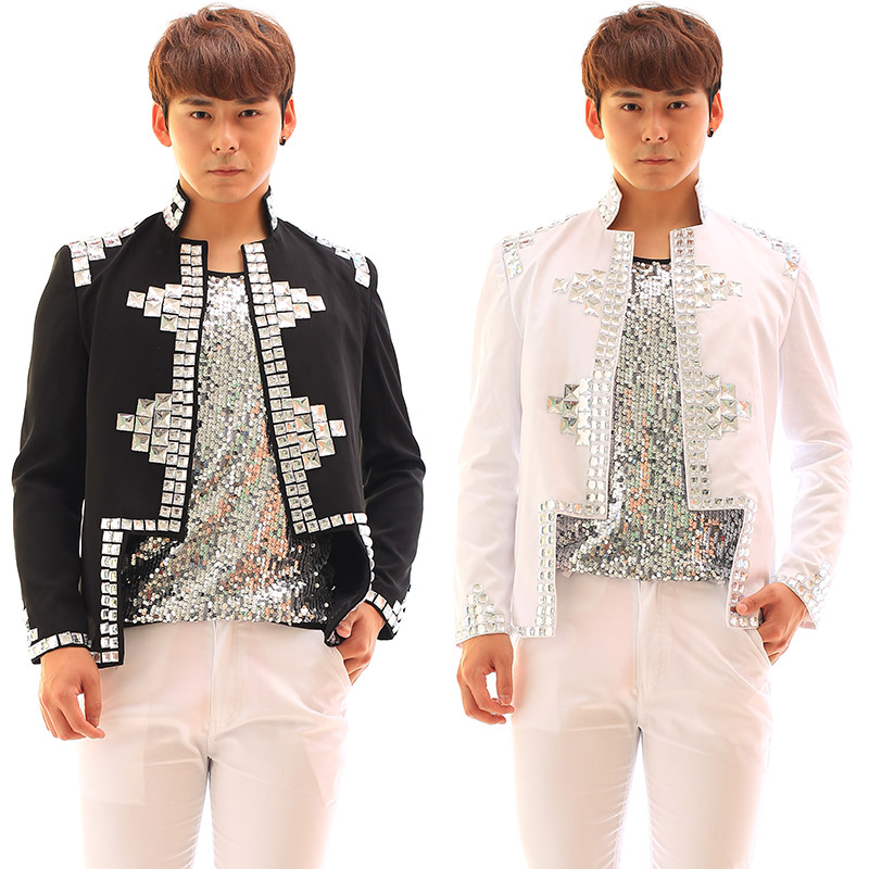 Male Singer GD Concert Stage Costume Black And White Acrylic Beads Diamond Jacket Performance Clothing Show Wear Coat BL2214