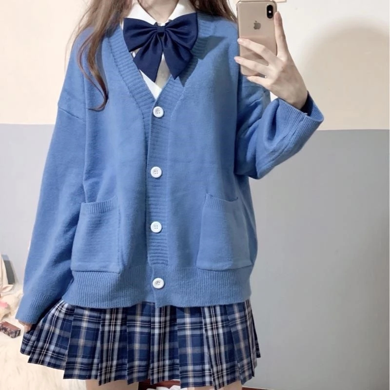 Japan School Sweater Spring Autumn 100% V-neck Cotton Knitted Sweater JK Uniforms Cardigan Multicolor Student Girls Cosplay