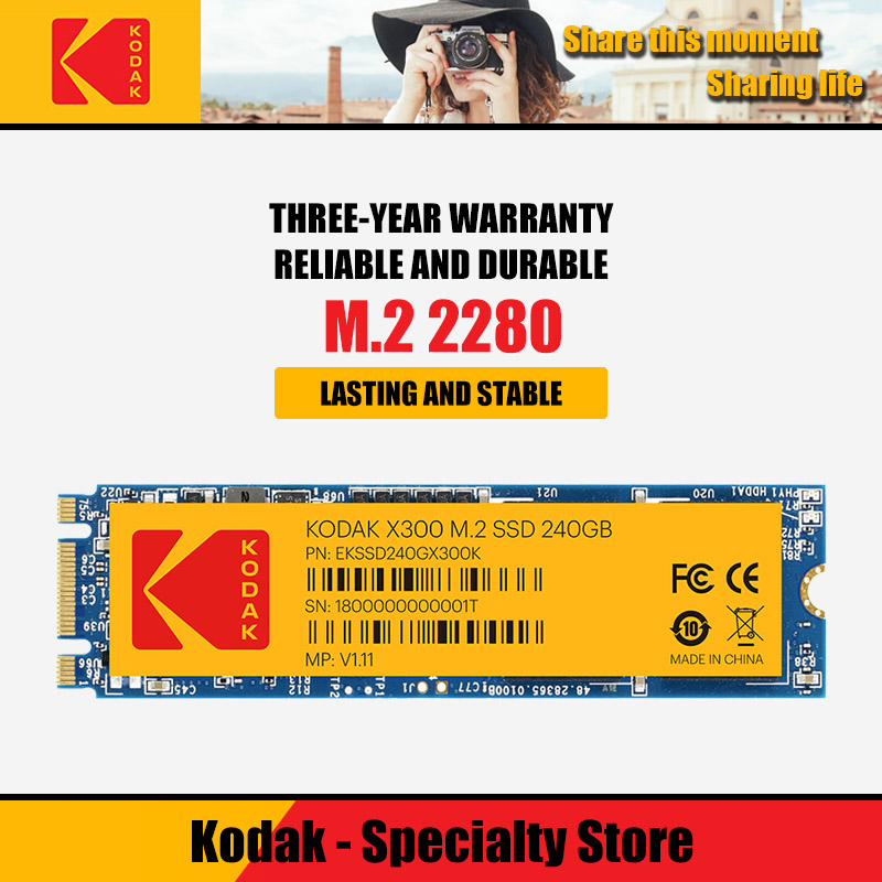 Kodak Internal solid state drive <font><b>M2</b></font> <font><b>SSD</b></font> 120gb 240gb 480gb HD <font><b>NVMe</b></font> <font><b>SSD</b></font> Hard Drive HDD Hard Disk X300 Solid State sata for Laptop image