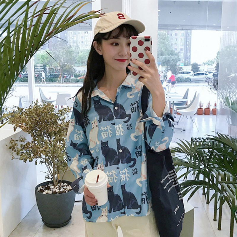 2019 Women Blouse Vintage Cartoon Cats Printed Long Sleeve Lapel Blouse Loose Casual Single Breasted Elegant Women Shirt Tops in Blouses amp Shirts from Women 39 s Clothing
