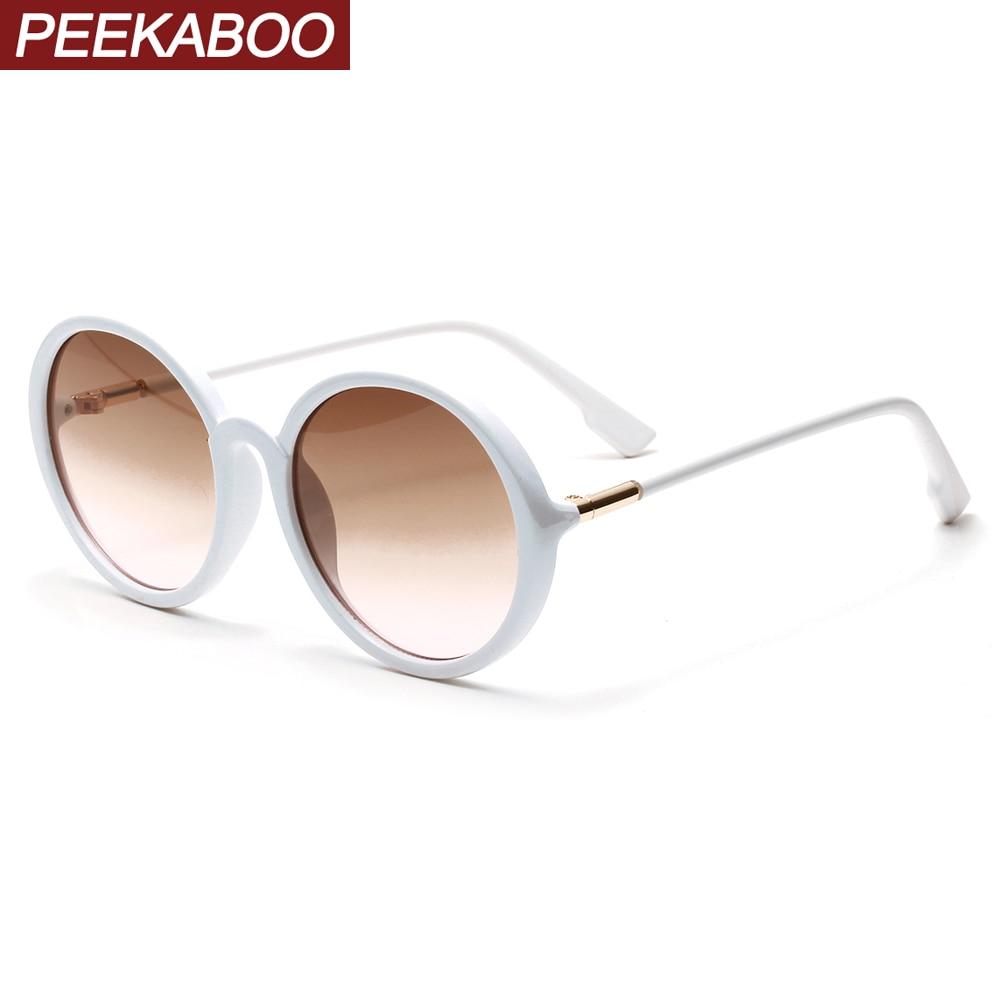 Peekaboo Round Frame Sunglasses For Women White Black 2020 Trend Circle Men Sun Glasses Retro Cheap Uv400 Drop Shipping