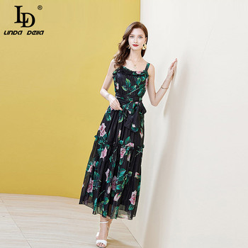 LD LINDA DELLA Summer Off Shoulder Party Dress Women Chiffon Vintage Sleeveless Floral Print Belted Ladies Midi Dresses Vestoido