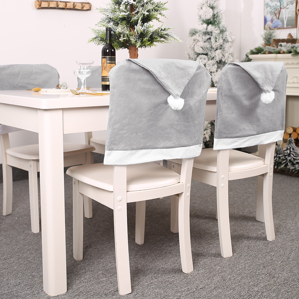 Santa Claus Cap Chair Cover Christmas Dinner Table Party Gray Red Hat Chair Back Covers Xmas Christmas Decorations For Home New