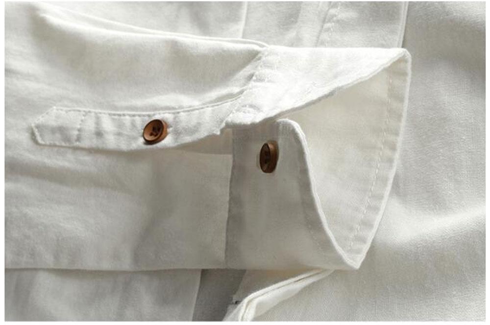 H96c74db928e243ab84c0955562a2ca0eu New sexy Men's Cotton Linen Shirts Long Sleeve Men Casual Slim Mandarin Collar Shirts Summer Beach Shirt plus size 6xl
