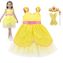 1-6T Ins Hot summer short Belle Princess Dress Childrens Wear Beauty and Beast Birthday party casual cotton for girls