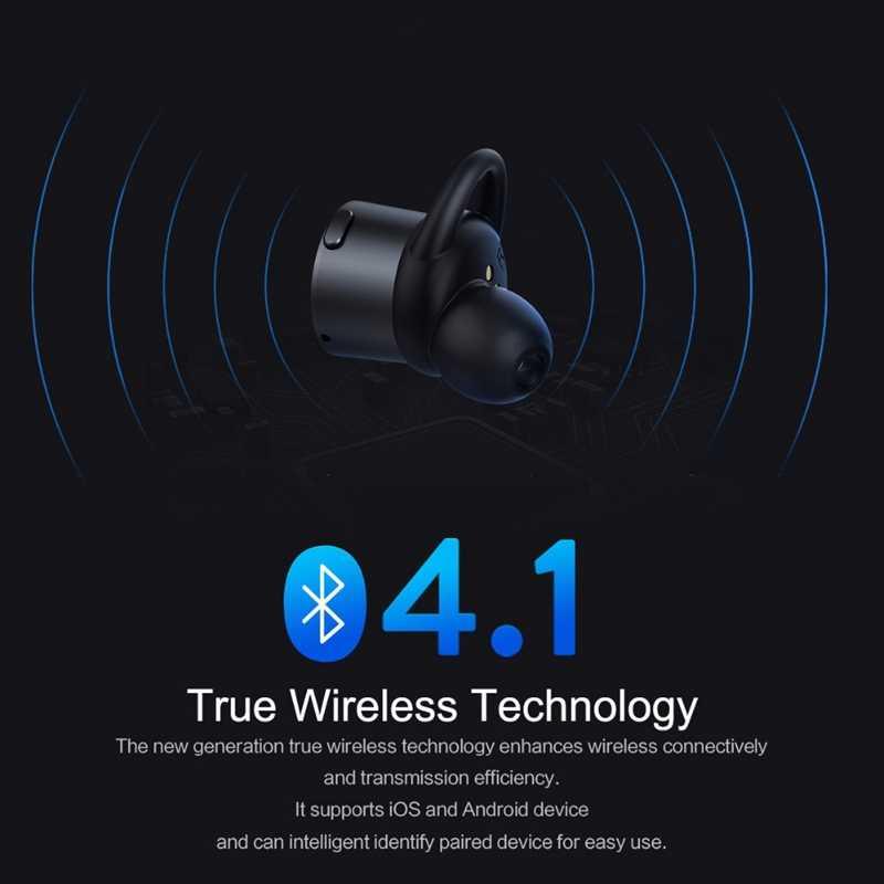ROCK TWS Bluetooth 4.1 bezprzewodowe słuchawki bezprzewodowa słuchawka douszna z prawdziwym stereo douszne Mini słuchawki douszne z mikrofonem i etui z funkcją ładowania na telefon komórkowy
