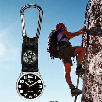Sport Outdoor Quartz Pocket Watch with Compass Pendant Clock Nylon Strap Carabiner Gifts - discount item  31% OFF Pocket & Fob Watches