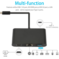 For Type C RJ45 HD Multichip Interconnect USB PD Charger Port Hub 4 In 1 Adapter