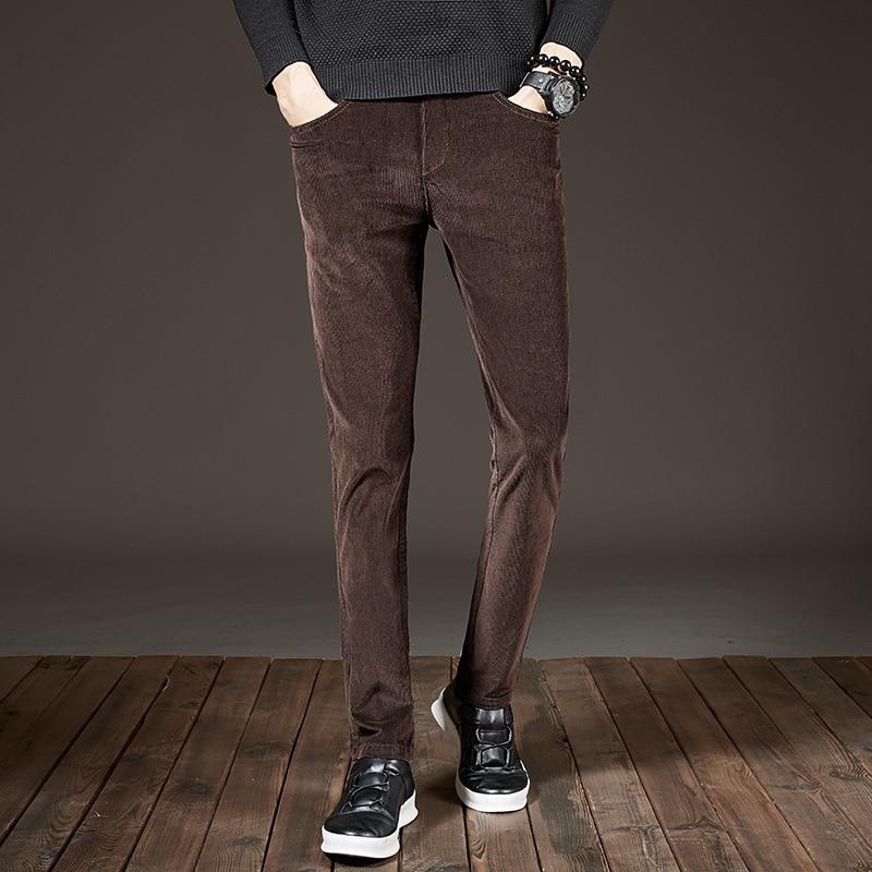 Fashion Streetwear Men Jeans Casual Business Corduroy Pants Elastic Brown Black Autumn Winter Slim Fit Smart Pencil Pants Men