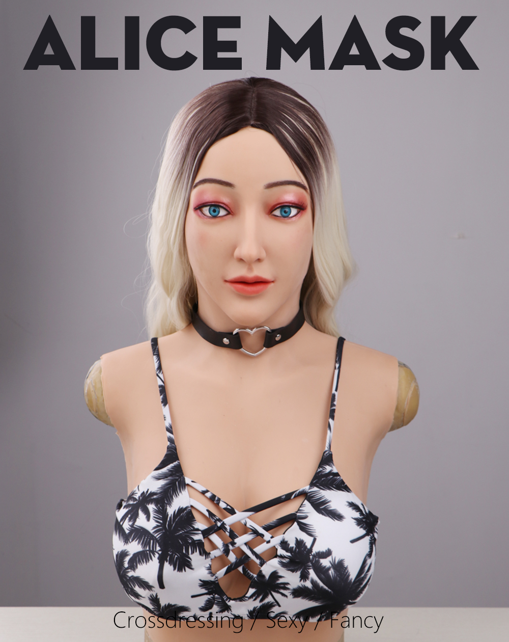 Eyung crossdresser silicon mask with d cup boobs realistic female goddess face human mask Halloween Masquerade party ball mask (1)