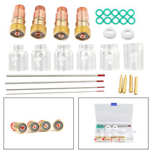 30Pcs TIG Welding Stubby Gas Lens Pyrex Cup Kit Fits For Tig WP-17/18/26 Torch Manufacturing Metal Processing Welding Materials