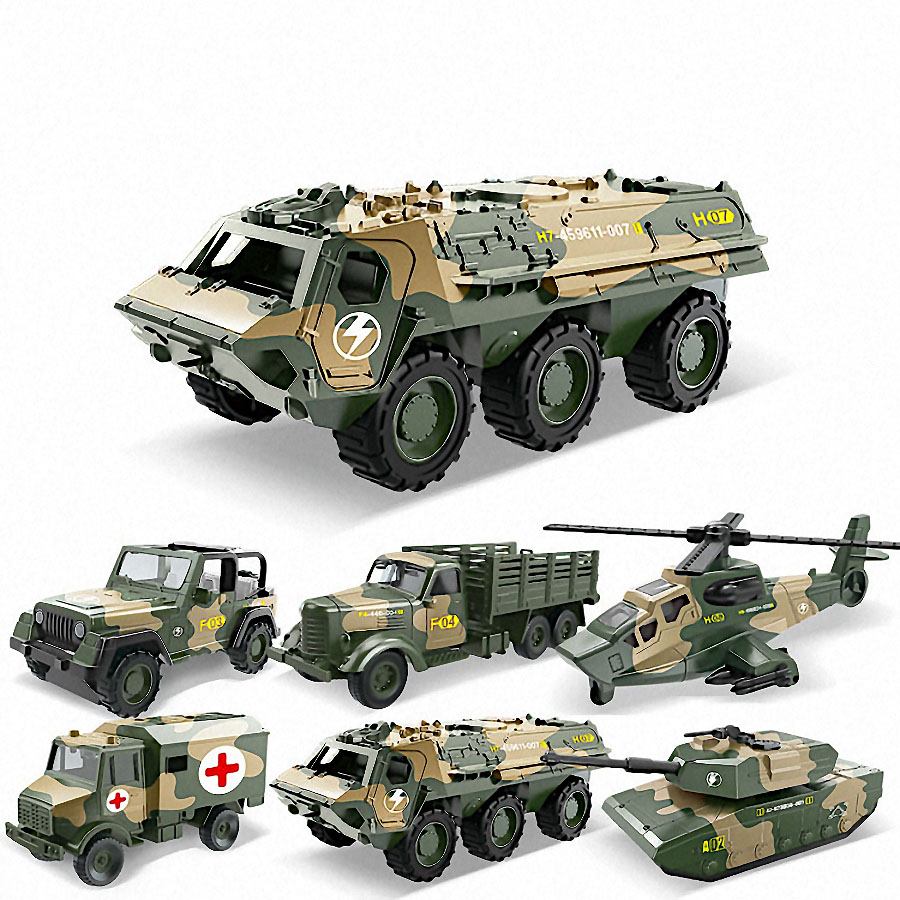 Alloy Metal Car Clockwork Simulation Military Armed Tank Armored Vehicle Car Truck Children's Toy Model Helicopter