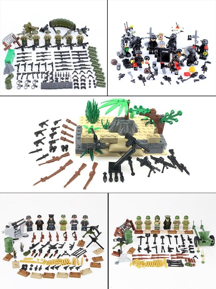 Bricks Toy Weapons-Accessories Helmet Soldiers-Figures Building-Blocks Gift WW2 Army