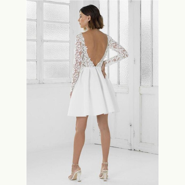 2021 Modern Sexy Short Lace Backless Bridal Wedding Dresses Long Sleeves Jewel Neck Wedding Gowns for Bride Mini Length Hot Sale 4