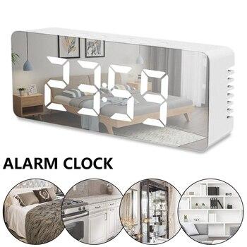 Mirror Digital Alarm Clock Mirror LED Night Light Thermometer Wall Clock Lamp Square Rectangle Multi-function Desk Clock USB AAA 2