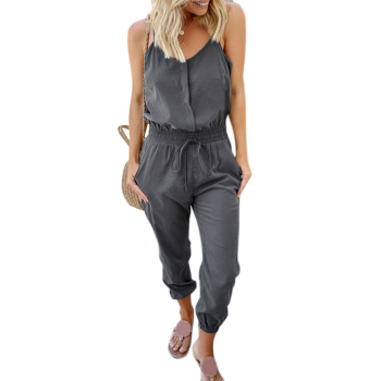 Summer Jumpsuit Women Spaghetti Strap Jumpsuit Ladies Casual Strappy Playsuit Pocket Elegant Overalls Sleeveless Jumpsuit Romper fashionable spaghetti strap criss cross pocket design romper for women