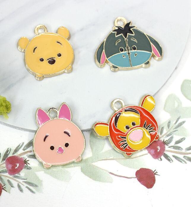 lot cartoon tigger Charm Necklace Bracelet Earrings Pendants Key DIY