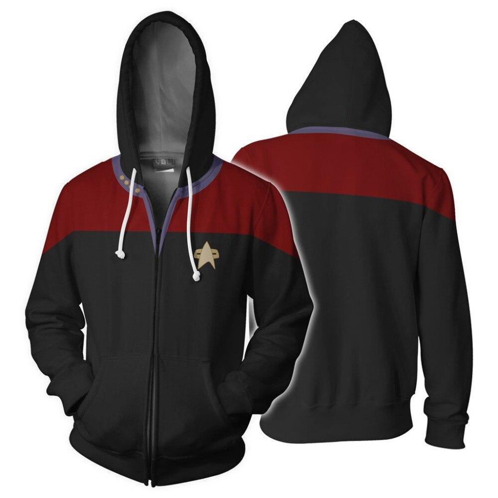 Star Cospaly Hoodie Costume Trek Sweatshirts Zipper Print Men Women Cardigan Adult Hoody Outwear Casual Tops Hooded Coat