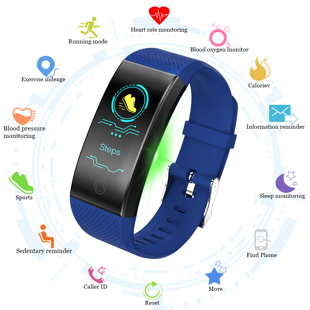 Sport Smart Band Bracelet Women Men QW18 IP68 Waterproof Smart Wristbands Smartband Blood Pressure Fitness Tracke Watch