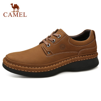 CAMEL England Genuine Leather Lace-up Men Casual Shoes Hand-stitched Thick-soled Men's Shoes Footwear Man camel comfortable casual shoes matte genuine leather men shoes anti man wear resistant tooling footwear fashion mocassins homens