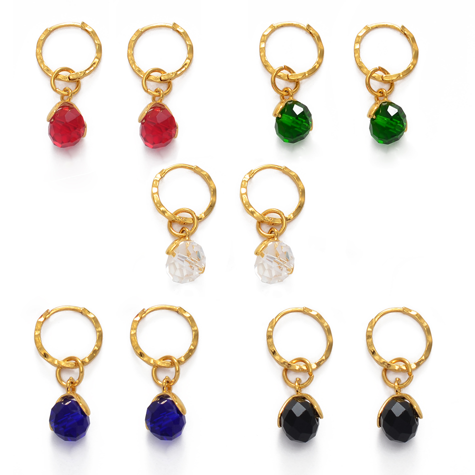 Anniyo Small Stone Earrings for Girls Women With Spring Ring Gold Color Mini Earring Marshall Micronesia Jewelry Gifts #138806