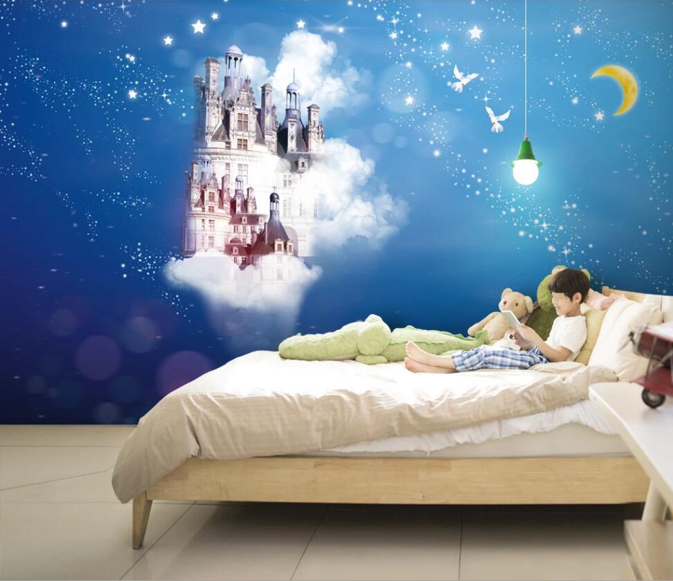 Milofi Custom 3D Wallpaper Mural Abstract Whole House Blue Starry Castle Background Wall Decoration Wallpaper