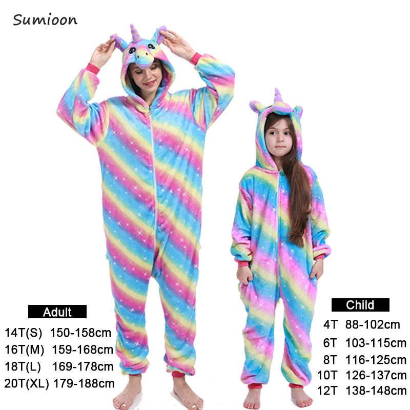 Пижамные комплекты для мальчиков и девочек, пижамы с кигуруми Единорог для женщин и мужчин, взрослые комбинезоны с изображением панды, шитая Пижама для косплея, пижамы для детей