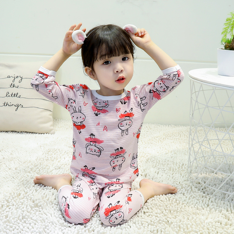19 Girls' Pajama Short Sleeve Summer Pure Cotton Children Shui Tao Baby Little Girl Summer Thin Section Princess Cartoon Tracksu