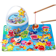 Toys-Set Fish Baby Wooden Magnetic Toddler Kids Children for 14pcs with Gifts-Box Puzzle