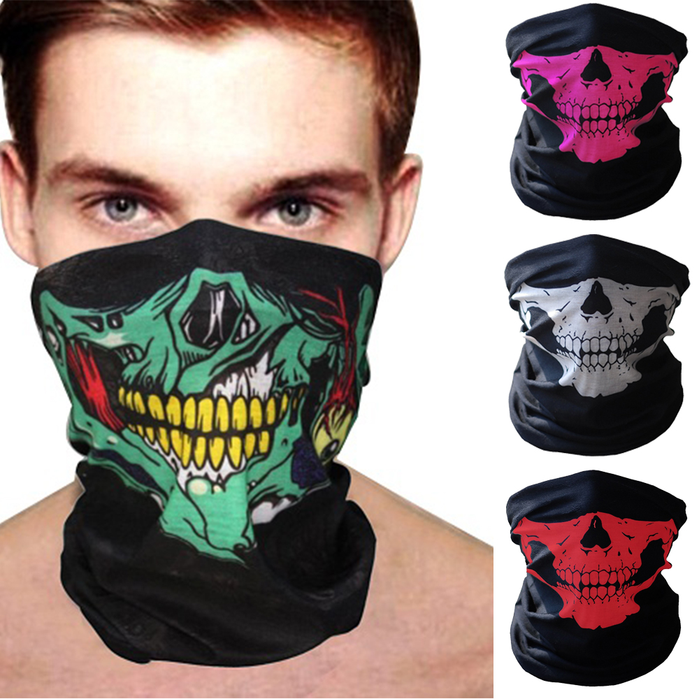 Men Motorcycle Shield Winter Balaclava Beanies Face Mask Ghost Skull Mouth Face Mask Neck Warm Windproof Outdoor Tactical Mask