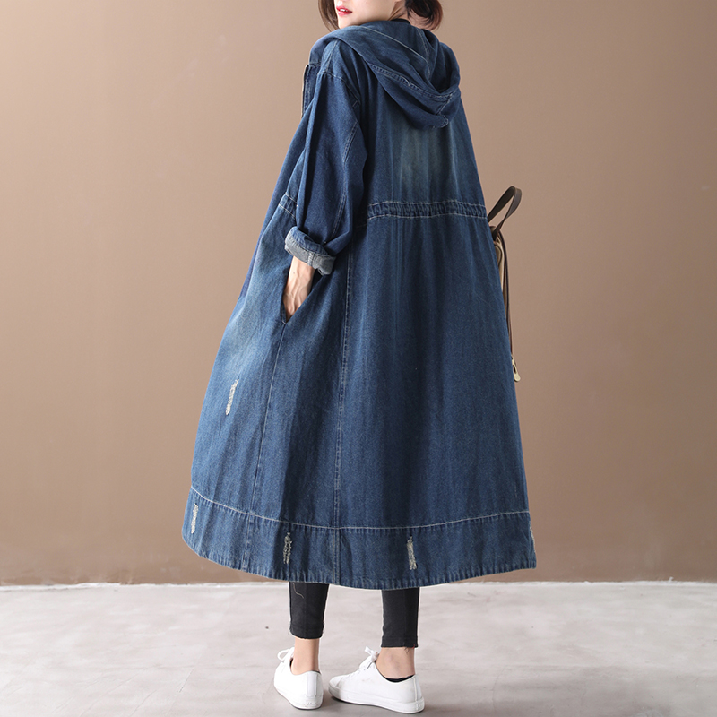 Female New Autumn And Spring Korean Style  Plus Plus Size Outerwear Washable Hooded Long With Zip Loose Denim Trench