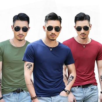M&DE T-shirt for Men t Shirts Short Sleeve V-neck Black White t shirts Summer Sports Running Top Tees Male Casual camiseta mascu