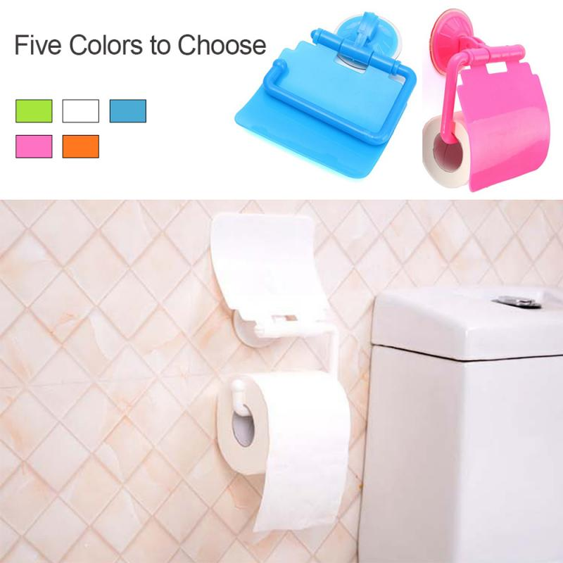 1pc Wall Mounted Plastic Suction Cup Bathroom Toilet Paper Roll Holder With Cover Paper Holder Bathroom Accessories