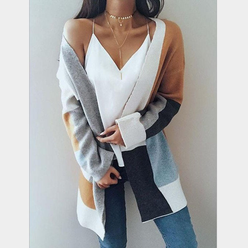 Casual Patchwork Long Cardigan Poacket Knitting Outwear Autumn Winter Long Sleeve Loose Knitted Sweaters