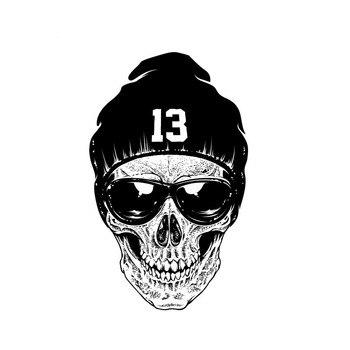Car Sticker Personality Hand Painted Skull Funny Decal  Body Accessories Sunscreen Waterproof Sticker Black/White PVC, 9cm*15cm aliauto personality creative car sticker windows jdm culture japan flag pvc waterproof sunscreen decal accessories 9cm 15cm
