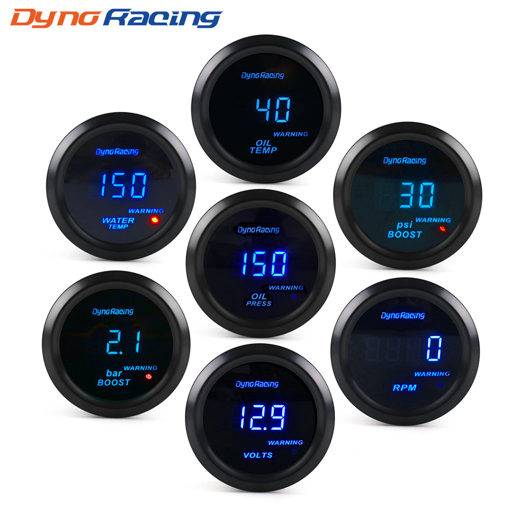 "Dynoracing 2 ""52 Mm Mobil Digital Turbo Boost Pengukur Psi Bar Suhu Air Suhu Minyak Oil Pressure Gauge Voltmeter tachometer Rpm Gauge"