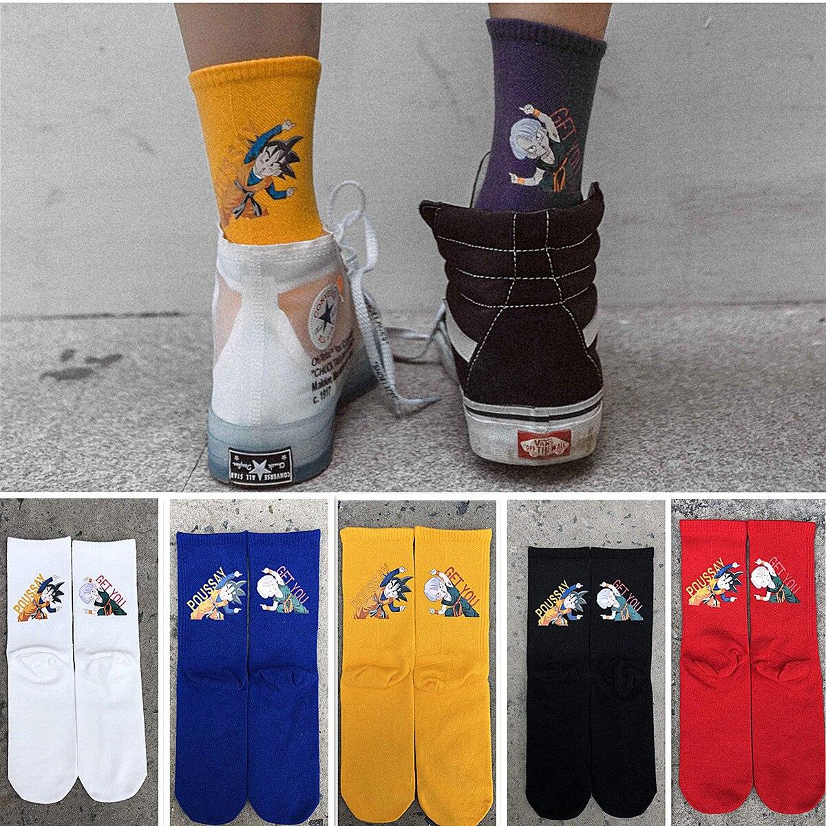 Funny dragon ball cartoon anime street fashion long   socks   unisex happy hip hop skateboard   socks   fashion personality cool   socks