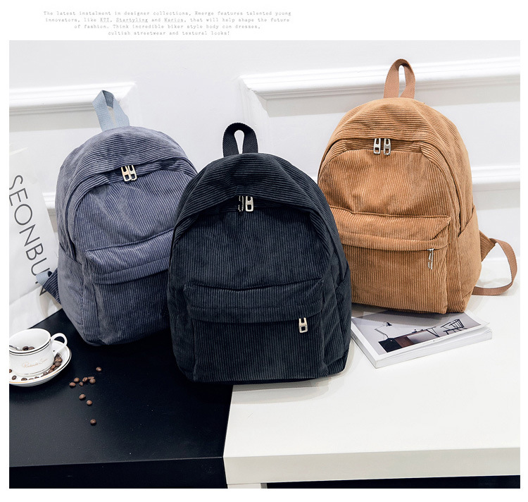 Fashion corduroy striped women's backpack campus student bookbag leisure travel mini backpack suitable for cute girl Mochila image
