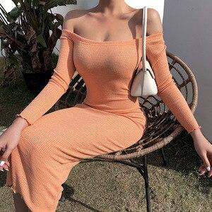Image 5 - LVINMW Sexy Costola maglia Slash Collo Manica Lunga Vestito Sottile 2020 della Molla di Modo Delle Donne Off spalla Backless Del Vestito Femminile Del Partito