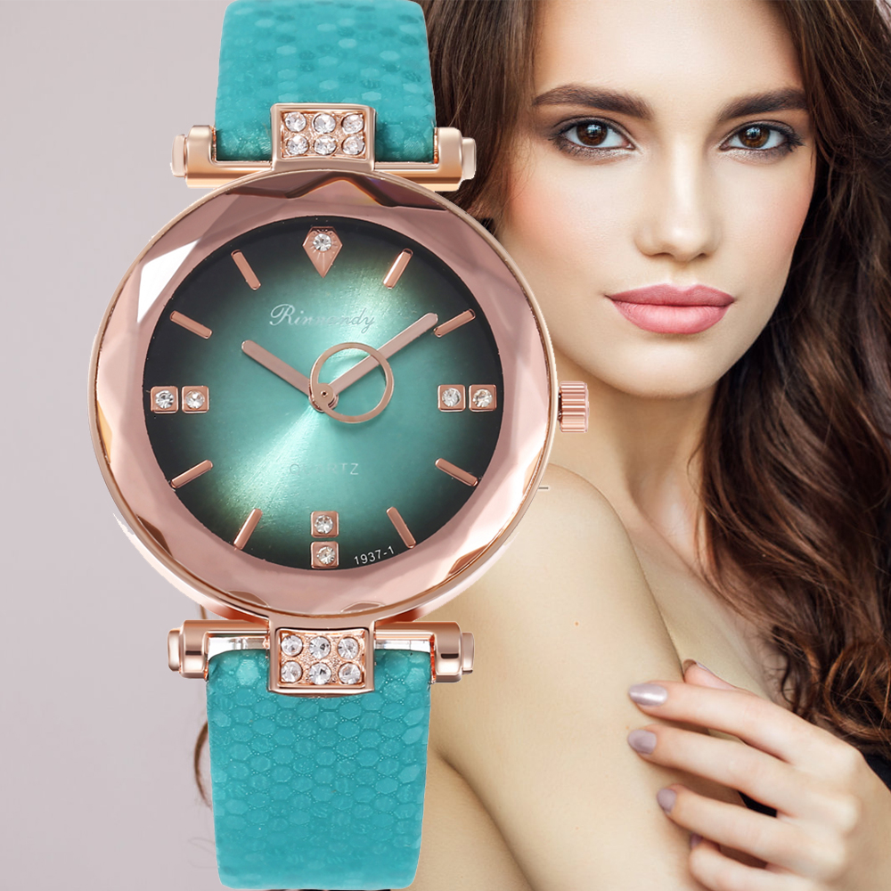 Women Watches Leather Fashion Style Casual Simple Black Green Ladies Bracelet Clock Alloy Quartz Wrist Watch Relogio Feminino