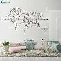 Large World Map Compass Earth Wall Sticker Office Classroom Travel Global Exploration Adventure Decals Vinyl Art Décor YT2189