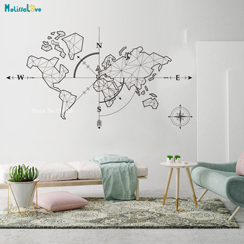 Large World Map Compass Earth Wall Sticker Office Classroom Travel Global Exploration Adventure Decals Vinyl Art Décor YT2189 1